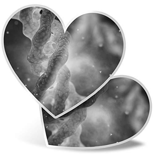 Impresionante 2 pegatinas de corazón de 7,5 cm BW – Colágeno triple hélice ciencia molécula calcomanías divertidas para portátiles, tabletas, equipaje, libros de chatarra, frigorífico, regalo genial #37231