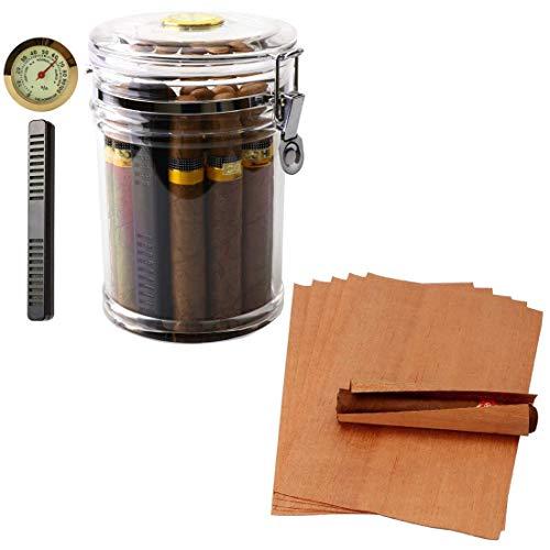 XIFEI Acrylic Humidor Jar and Cigar Companion Spanish Cedar Lumber Veneer,Fits All Types of humidors jar (5PACK)