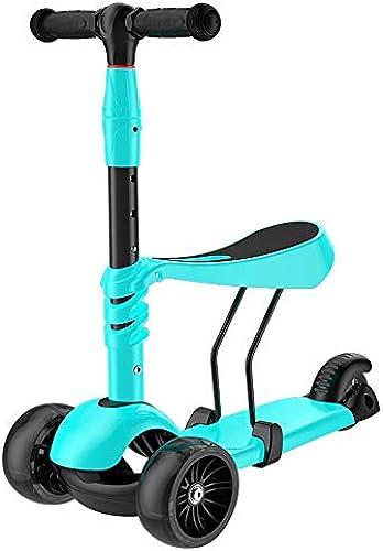 ETHTC Größer Kinder-Roller, Dreirad-ZWeißin-Eins-Blitzrad-Tretroller, Sichere Lenkung Ohne überschlag, Für Kinder Im Alter Von 2-10 Geeignet