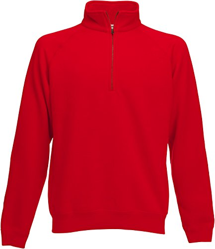 Fruit of the Loom Herren Zip Neck Sweat Sweatshirt, Rot (Red 400), Large