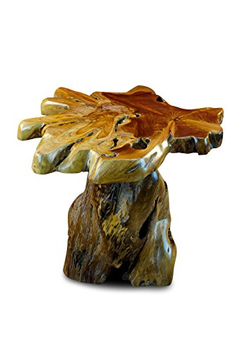 Kinaree Beistelltisch mit Baumscheibe ALOR Setar - 50cm Beistelltisch aus massivem Teak in rustikaler Optik, die Tischplatte wurde aus einem Teak-Baum Querschnitt gefertigt