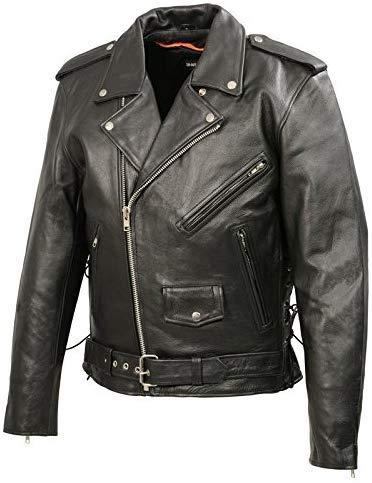 Event Biker Leather Men's Basic Motorcycle Jacket with Pockets (L) Black