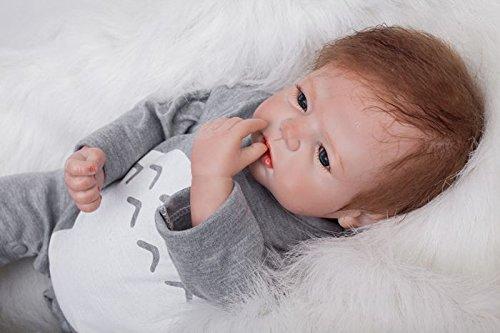 Scnbom 22inch 55cm Reborn Babys silikon Junge lebensechte Puppen wie echtes babypuppen Maedchen Toddler Puppe