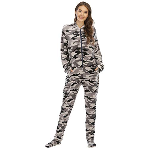YuanDiann Mujer Pijamas Enteros con Pies, Impresión de Camuflaje Suave Cálido Franela Manga Larga Onesie Linda Una Pieza Cómodo Dormir Mono con Capucha Gris Camuflaje XL