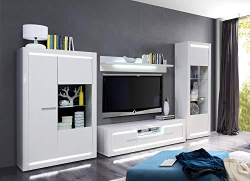 Wohnwand L- Light Weiß und MDF Weiß Hochglanz 4 teilig von Forte Anbauwand Wohnzimmer Mediawand TV- Wand