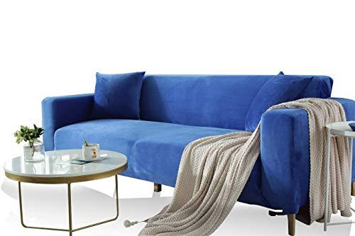 MAqiangaa Funda Tela Elástica de Sofá de Terciopelo Adaptable Rústica Antideslizante Protector Cubierta de Muebles (El sofá de Esquina en Forma de L Necesita Comprar Dos)-Azul||2 plazas: 140-180 cm