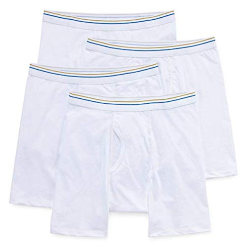 Stafford 4 Pair Dry and Cool Blended Men's Boxer Briefs (X-Large) White