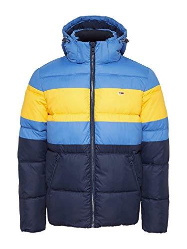 Tommy Jeans Herren TJM Rugby Stripe Puffer Jacket Jacke, Blau (Dutch Blue/Multi CE4), Large (Herstellergröße:L)