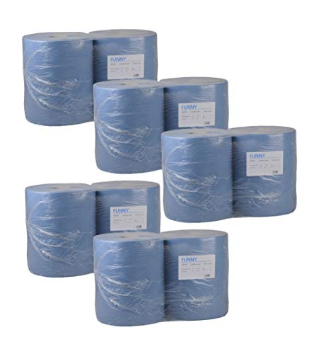 Funny Putzpapierrollen, 2 lagig, blau, circa 36 cm, 1000 Blatt je Rolle (5x 2 Rollen)