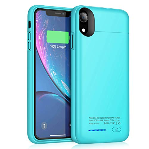JUBOTY Battery Case for iPhone XR 4000mAh Magnetic Slim Protective Portable Charging Case for iPhone XR Power Bank Rechargeable Battery Charger Case Compatible with Wired Headphones(Blue)