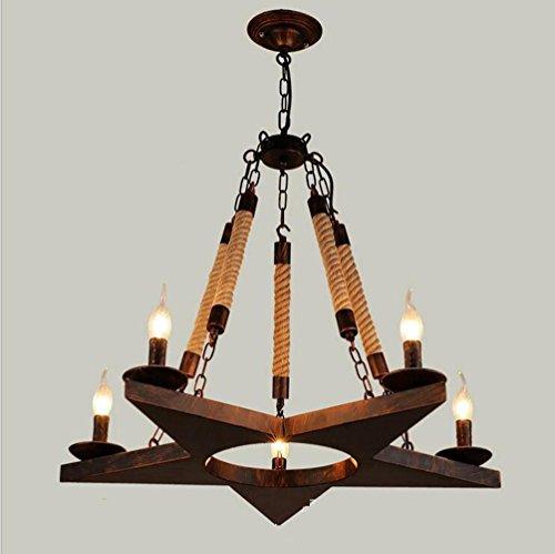 Suspensions 220 V 5 * E14 (Ne pas inclure ampoule) Loft Industriel Rétro Bar compteur Café Restaurant Pentagram-forme Chanvre Corde pendentif lampe, 70 * 50 cm, rust
