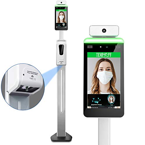 Face Recognition Body Temperature Measurement System, Body Temperature Detection/Access Control/Staff Attendance All-in-One Machine,Support Hand Hanitizer Disinfection(with Stand)