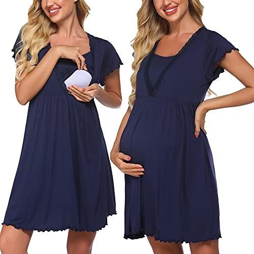 Meaneor Stillnachthemd Kleider Spitzenkleid Kurzarm V Ausschnitt Nachthemden für Schwangere oder stillende Frauen, Marineblau, Gr. L