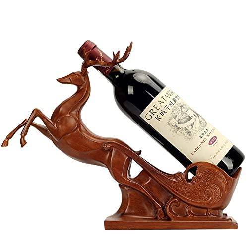 Botellas individuales del estante de vino, Brawn Elk Formado en forma de encimera Botellas de vino Botellas de vino, Cesta de ciervos Soporte de copa de vino, organizador de almacenamiento de vino Pue