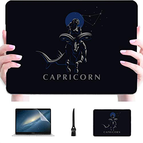 Computer Case Zodiac Sign Capricorn Plastic Hard Shell Compatible Mac MacBook Pro Retina Case Protection Accessories for MacBook with Mouse Pad