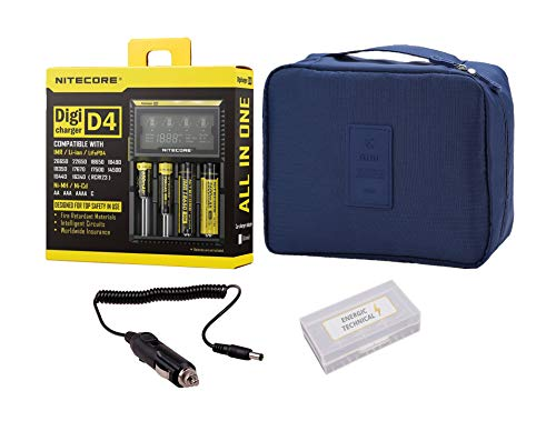 Best Nitecore D4 Charger with Travel Case, Battery Organizer, and Car Charger