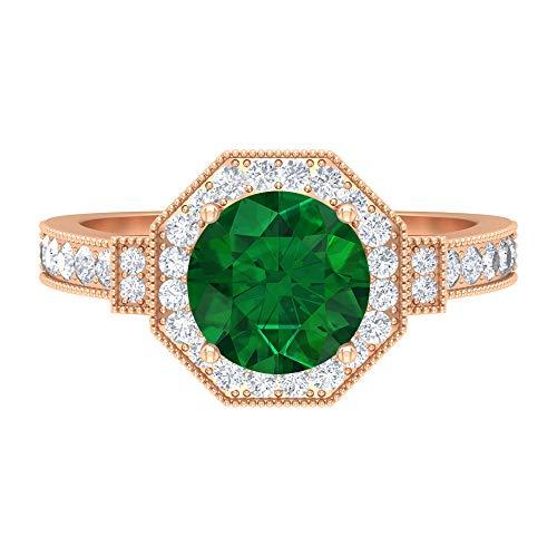Rosec Jewels 14 quilates oro rosa redonda round-brilliant-shape H-I Green Diamond esmeralda, difuso