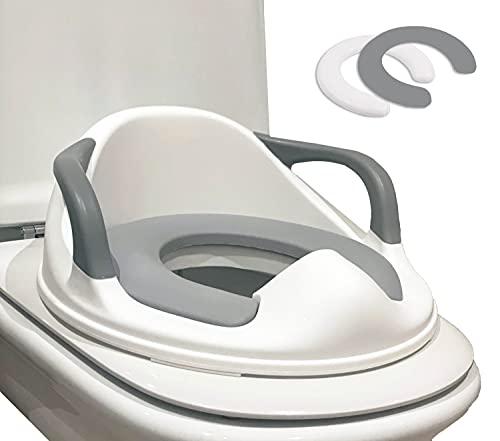 Babify Reductor WC para niños - Adaptador para Inodoro - De 1 a 8 Años - 2 Cojínes Antideslizante Incluidos - Facil Limpieza - Color Blanco Gris