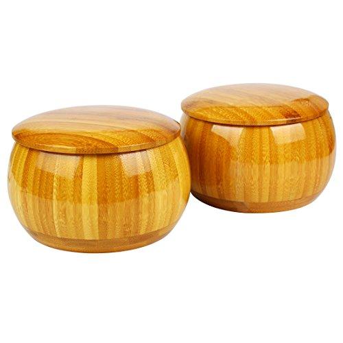 Larcele Go Juegos Bochas Caja de Almacenamiento de Bambú, 2 Piezas WQG-01