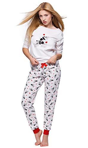 S& SENSIS edler Baumwoll-Pyjama (Made in EU) Hausanzug aus schickem Oberteil und toller Hose, Gr. 42, Weiß mit Panda