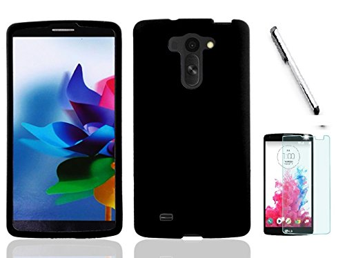 LG G Vista VS880 Case (Verizon). Luckiefind Rubberized Snap On Plastic Case Cover, Stylus Pen, Screen Protector Accessory. (Hrad Black)