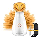 ECVISION Nano Ionic Warm Mist Facial Steamer Hot Mist Moisturizing Cleansing Pores Face Steamer Sprayer Face Humidifier Hydration System Home Sauna SPA,5 Piece Blackhead Remover Kit