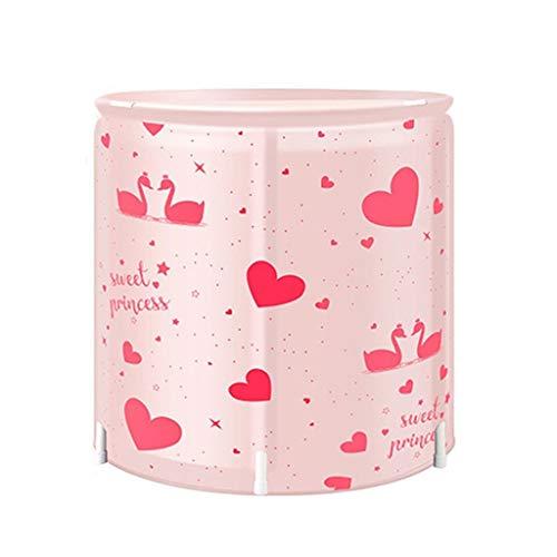 Soaking Baths Portable Bathtub Indoor Adult Bath Bucket Inflatable Bathtub Thick Full Body Large Bathtub Folding Plastic Bathtub With Lid (Color : Pink, Size : 65 * 70cm)