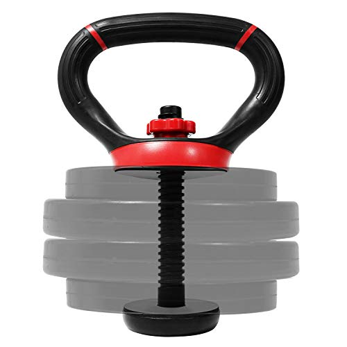 Yes4All Adjustable Kettlebell Handle/Kettlebell Handle for Plates – Kettlebell Weight Handle Supports up to 100lbs & Fits 1 & 2-Inch Weight Plates
