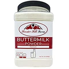 Contains 2 pounds of buttermilk powder, in a plastic jar sealed to preserve freshness and shelf-life. Buttermilk is a result of making butter that during the churning process remains more of a liquid. Pure dehydrated buttermilk from Wisconsin. Perfec...