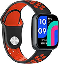 Sport Bands for Wyze Watch, Quick Release Silicone Waterproof Breathable Soft Replacement Strap for Wyze Watch 44mm 47mm Women Men, (Black/Red)