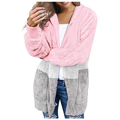 HAPPIShare Women's Winter Warm Faux Fur Coat Long Sleelve Cardigan Boyfriend Shearling Fuzzy Jacket with Pockets Pink