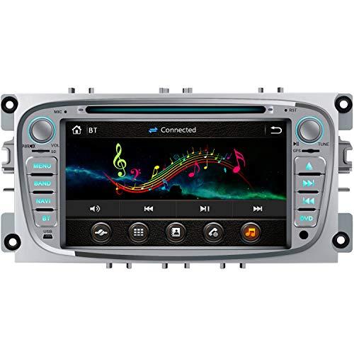 AWESAFE Autoradio 2 DIN per Ford 7 Pollici Car Radio con Bluetooth Vivavoce per Ford Mondeo Focus C/S-Max (2008-2011) Supporta i comandi al Volante, GPS/FM/RDS/CD/Dvd/USB/SD e Mirror Link (Argento)