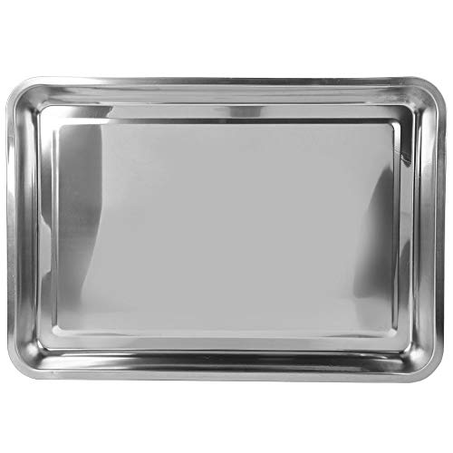 MAGT Barbecue Tableware, 0.4cm Thickness Cookware Plate Stainless Steel Dish Durable Square Cookware Reusable Outdoor Tableware for Cooking(27 * 20 * 4.8)