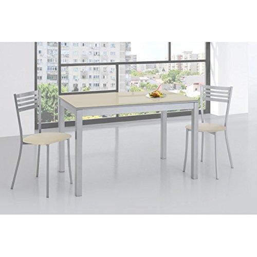 SHIITO Mesa de Cocina 120x70 cm Fija y Tapa en Cristal