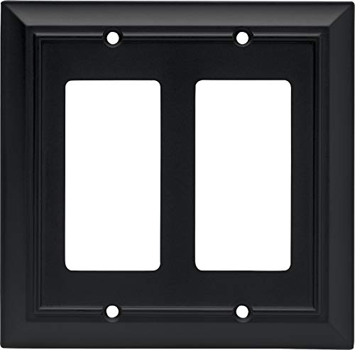 Architectural Double Decorator Wall Plate, Flat Black, Packaging May Vary