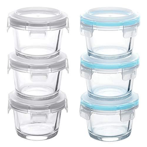 GRIZZLY Recipientes de vidrio para almacenamiento de alimentos para bebés - Mini platos a prueba de horno con tapas - 6 x 130 ml Redondo - Hermético al aire y a los líquidos