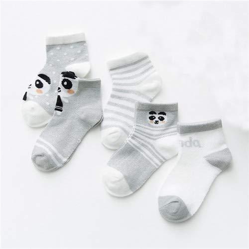 5 paia/lotto 0-2 anni calzini per bambini maglia estiva cotone cartone animato animale calzini per bambini ragazze carino neonato calzini bambino accessori per neonati-Grey Panda