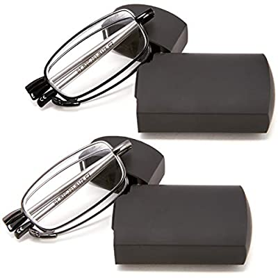 DOUBLETAKE 2 Pack Compact Folding Readers Reading Glasses w Case