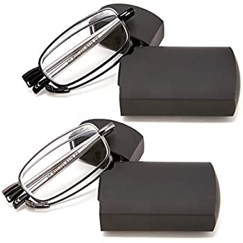 DOUBLETAKE Reading Glasses - 2 Pairs Folding Readers Includes Glasses Case 1.00