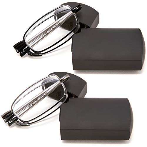 DOUBLETAKE Reading Glasses - 2 Pairs Folding Readers Includes Glasses Case 1.75