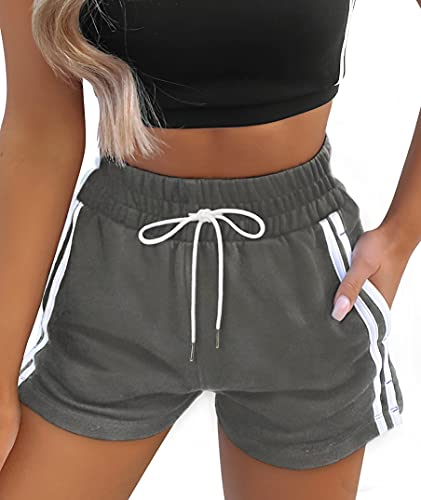 ANRABESS Sweat Shorts Srummer Running Shorts for Women Elastic High Waist Shorts with Pockets 386-huise+baibian-M