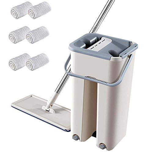 flat mop cleaning system with integrated squeegee bucket,360 degree spinning mop bucket home cleaner with two mop heads ,flat mop refill (1 barrel +1 mop + 6 pcs cloth)
