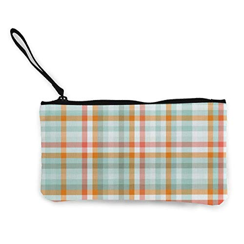 Retro Orange Striped Blue Plaid Background Canvas Wallet Exquisite Coin Purses Small Canvas Coin Purse is Used to Hold Coin Change, ID and Other