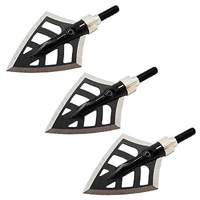 ayetea 3 Pack RED Devil Stainless Steel Serrated Broadheads 4 Blade Arrow 125 Grain Crossbow Broadheads Compound Bow Broadhead