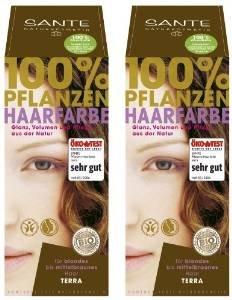 Sante Pflanzenhaarfarbe Haarfarbe im Doppelpack terra 2 x 100 g im Set für ein tolles Farberlebnis