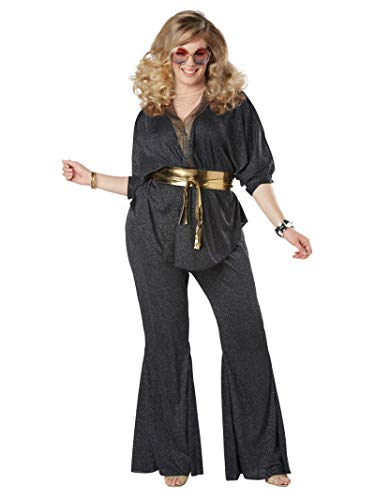 California Costumes Women's Size Disco Dazzler Plus Costume, black/gold, 2X Large