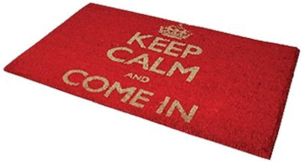 Keep Calm And Come In Coir Door Mat Red Pack Of 2