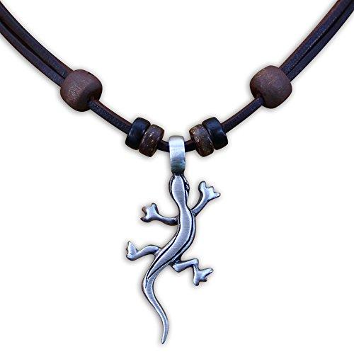 HANA LIMA ® Surferkette Lederkette Geckokette Halskette Herren Damen Metallanhänger