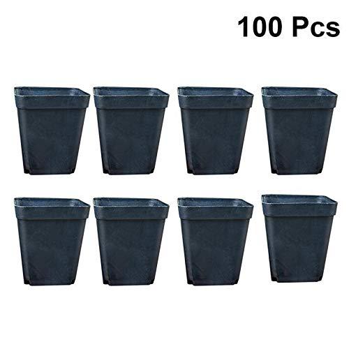 SPLLEADER - Macetas cuadradas, 100 unidades, de plástico, prácticas, para plantas suculentas, macetas, sin platos, para plantas