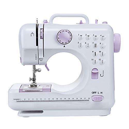 Signstek Máquina de coser manual Electrica 12 Puntadas Mini Maquina de Coser Portatil con Luz de LED Sewing Machine para Ropa (Blanco y morado)